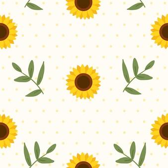Das nahtlose muster der sonnenblume mit blättern und tupfen.