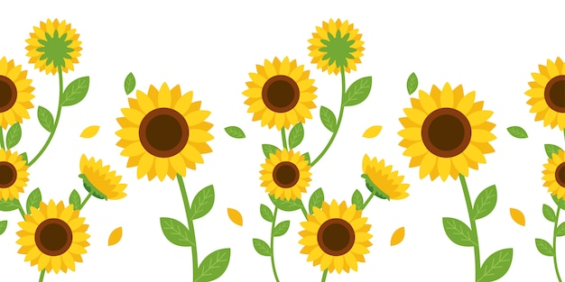 Das nahtlose muster der sonnenblume und des blattes