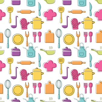 Das nahtlose muster des kochen von nahrungsmitteln und die bunten ikonen der küchen umreißen auf weißen hintergrund