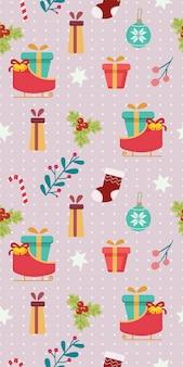 Das nahtlose muster des weihnachtsthemasatzes. das muster aus schlitten und geschenkbox sowie holly leaf und set. das muster der netten geschenkbox und der pferdeschlittenstechpalme treiben in der flachen vektorart blätter.