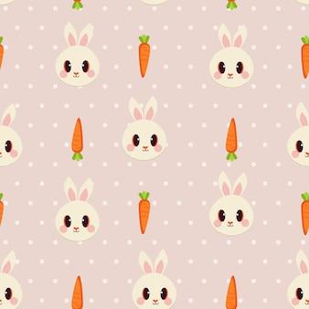 Das nahtlose muster des weißen kaninchens und der karotte mit tupfen.