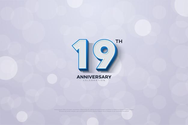 Das neunzehnte jubiläum mit einer blau gestreiften nummer am rand