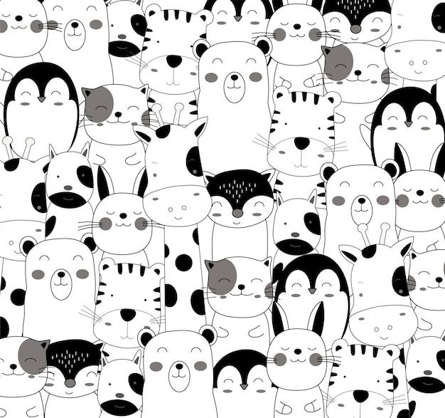 Das niedliche babytier-cartoonmuster in schwarzweiss