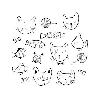 Das niedliche set von tiergesichtern enthält 15 elemente
