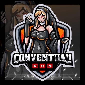 Das nonnen-maskottchen-esport-logo-design