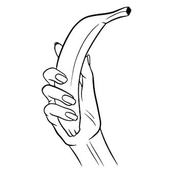 Das obst. banane in der hand. eine gesunde frucht. vitamine in lebensmitteln. linienstil. illustrationen für design und dekoration.