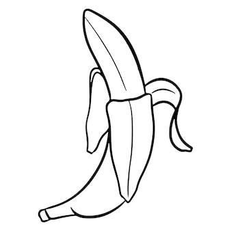 Das obst. eine offene banane. eine gesunde frucht. vitamine in lebensmitteln. linienstil. illustrationen für design und dekoration.