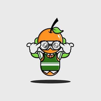 Das orange studenten-charakterdesign