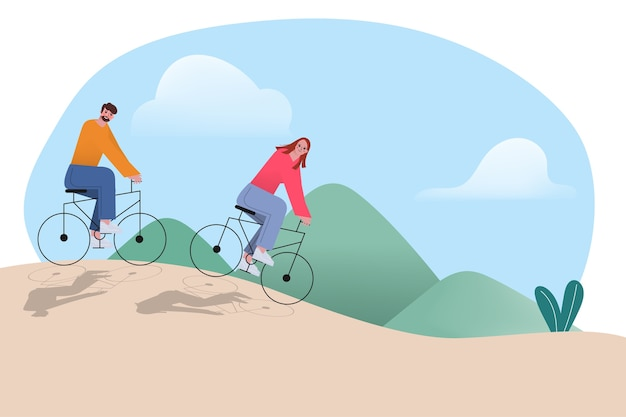 Das paar fährt fahrrad in den bergen