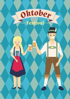 Das paar trägt oktoberfest kostüm