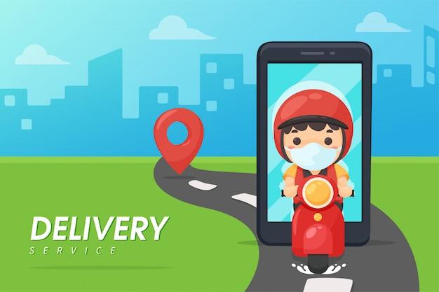 Das personal für die zustellung von lebensmitteln fährt motorräder aus mobiltelefonen. produkte an kunden liefern ideen für die online-bestellung von lebensmitteln
