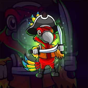 Das piraten-papagei-esport-logo-design der illustration
