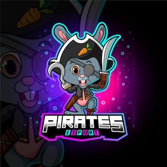 Das piratenkaninchen-esport-maskottchendesign der illustration