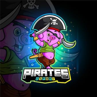 Das piratenschwein-esport-maskottchendesign der illustration