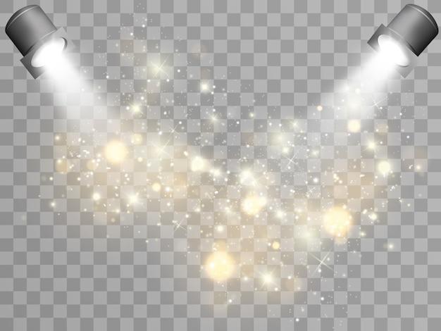 Das podium wird von scheinwerfern beleuchtet. szene für die preisverleihung.