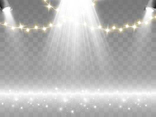 Das podium wird von scheinwerfern beleuchtet.