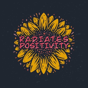 Das positiv strahlt zitate mit einer vintage-sonnenblumenillustration aus