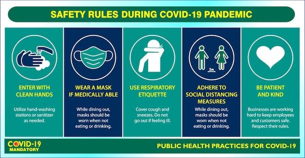 Das poster zur sozialen distanzierung oder die praktiken der öffentlichen gesundheit für covid19 oder gesundheits- und sicherheitsprotokolle