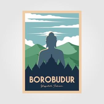 Das prächtige vintage-plakat des borobudur-tempels