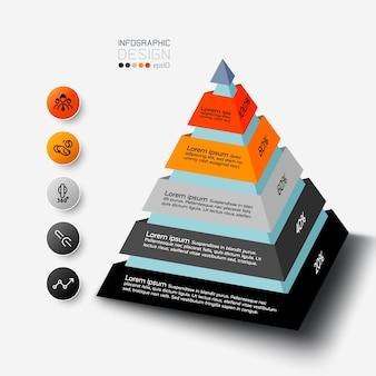 Das pyramidendesign kann verwendet werden, um analyseberichte zu beschreiben und die ergebnisse in prozent zu untersuchen. infografik.