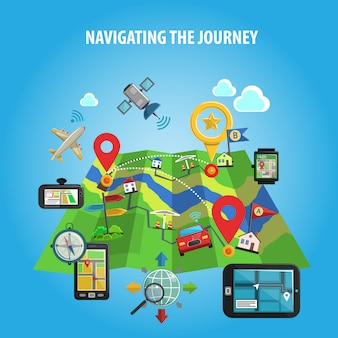 Das reise-konzept navigieren