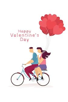 Das reizende glückliche paar fährt fahrrad und herzballone im valentinstagfestival.