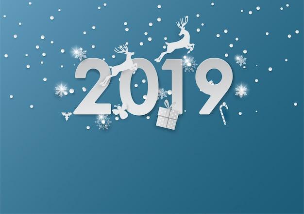 Das ren springend in 2019, frohe weihnachten, guten rutsch ins neue jahr