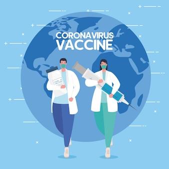Das rennen zwischen land, für die entwicklung von coronavirus covid19 impfstoff, ärzte laufen und weltplanet auf hintergrundillustration