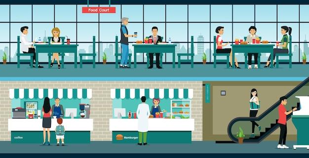 Das restaurant befindet sich im food court, wo kunden den service nutzen