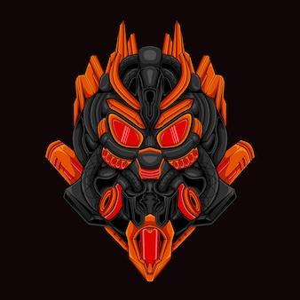 Das roboter-mecha-maskottchen-logo-design für das gaming- und esport-team