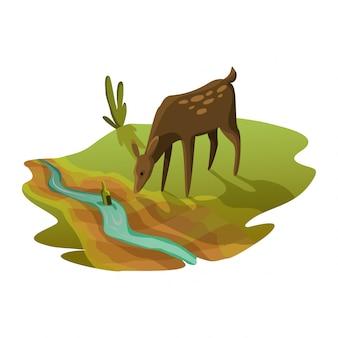 Das rogen-trinkwasser aus dem fluss ist fast trocken. warnung ökologieplakat. konzept globale dürre