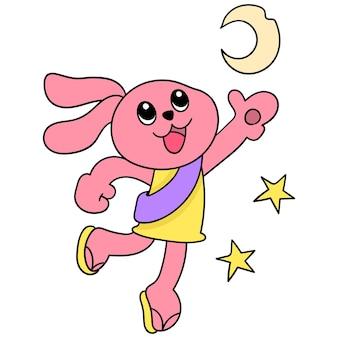 Das rosa kaninchen freut sich, den heiligen monat ramadan, vektorillustrationskunst, willkommen zu heißen. doodle symbolbild kawaii.