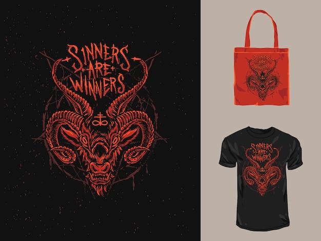 Das rote satanische dämonen-t-shirt und die einkaufstaschen-illustration