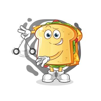 Das sandwich hypnotisierende charakter maskottchen