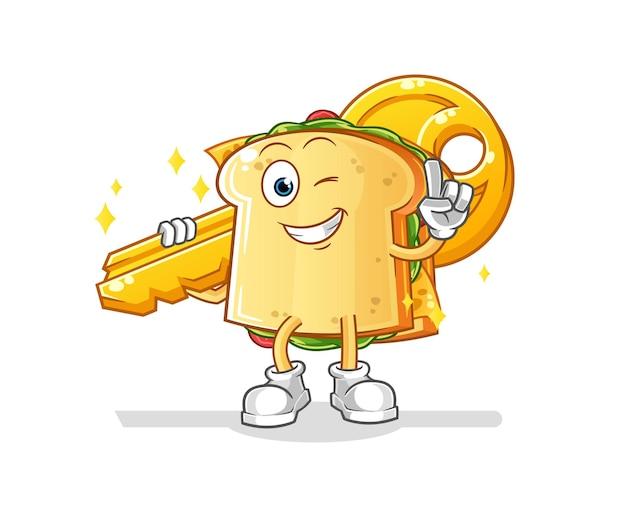Das sandwich trägt das maskottchen der schlüsselfigur