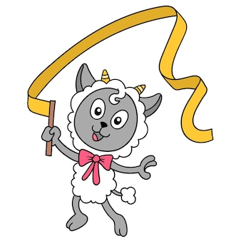Das schaf tanzt ballett mit einem glücklichen gesicht, vektorillustrationskunst. doodle symbolbild kawaii.