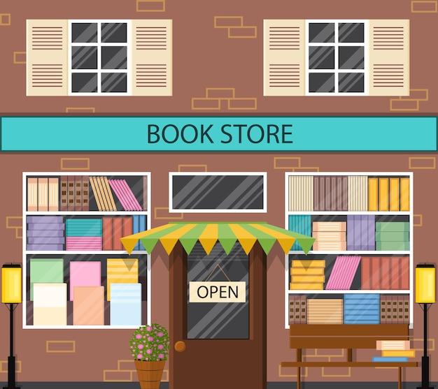 Das schaufenster einer buchhandlung. flacher stil. viele bücher in den regalen. laterne und bank draußen. literarischer laden. straßenschaufenster. vektor-illustration.