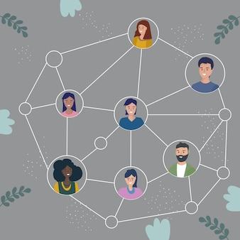 Das schema der interaktion und organisation der teamarbeit