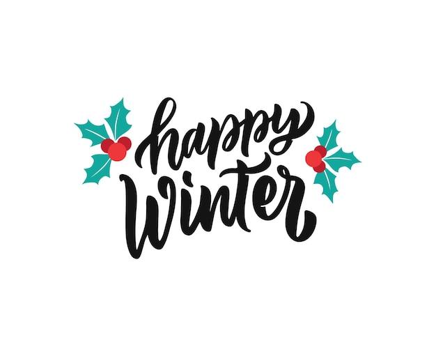 Das schriftzug-zitat happy winter die kalligraphie-inschrift eignet sich gut für weihnachtsdesigns