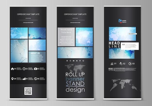 Das schwarze layout der roll-up-banner steht, vertikale flyer