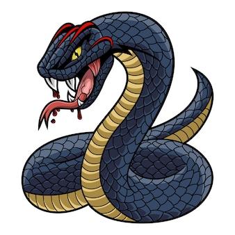 Das schwarze mamba-schlangen-maskottchen-logo
