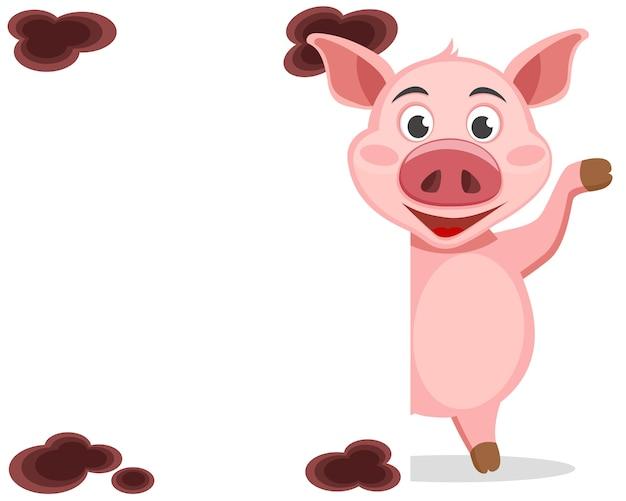 Das schwein schaut hinter dem weißen schild hervor und winkt mit dem huf. postkarte.