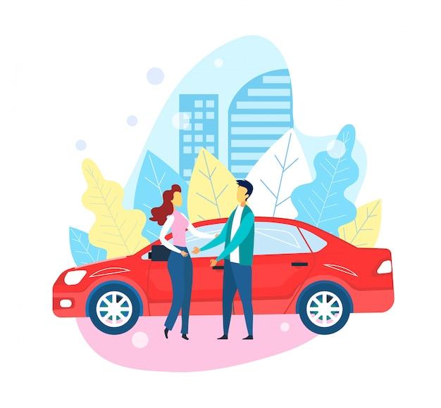 Das selbstfahren des roten autos nimmt mann und mädchen auf sitzung
