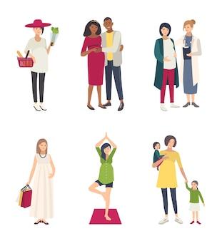 Das set der schwangeren frau. verschiedene situationen mit ehemann, einkaufen, yoga, mit kindern, beim arzt. sammlung flache illustrationen.