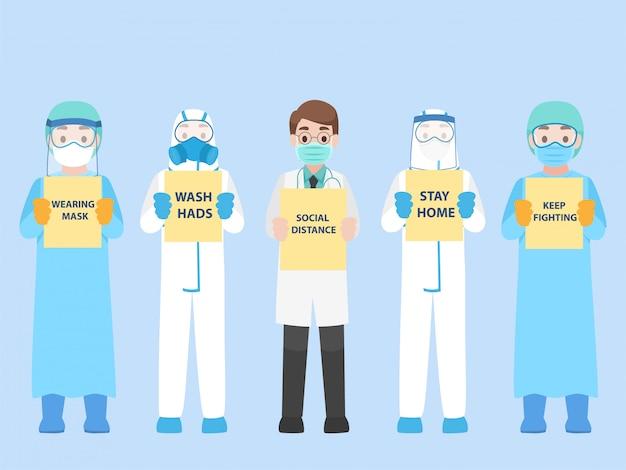 Das set des arztes im persönlichen schutzanzug trägt eine medizinische schutzmaske, um das koronavirus zu verhindern