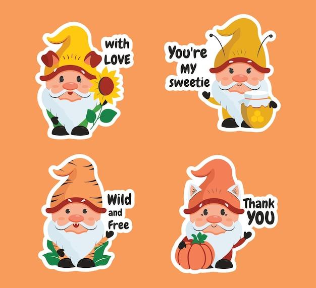 Das set von aufklebern cartoonish gnome mit text kürbis sonnenblumenhonig und beliebten zitaten