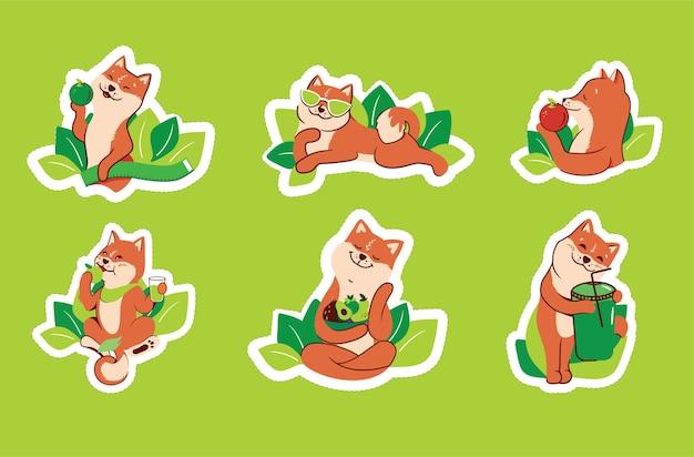 Das set von aufklebern für einen gesunden lebensstil grünes leben liebeskörper handgezeichnete sammlung von cartoonhunden