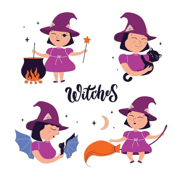 Das set von cartoon-hexen die magischen babymädchen der sammlung sind gut für fröhliche halloween-tage-designs