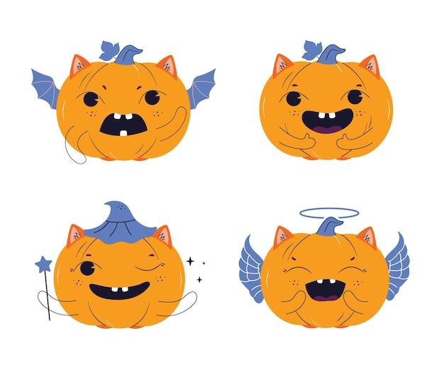Das set von kürbissen die charaktere sind gut für glückliche halloween-tage entwirft zaubererlogos