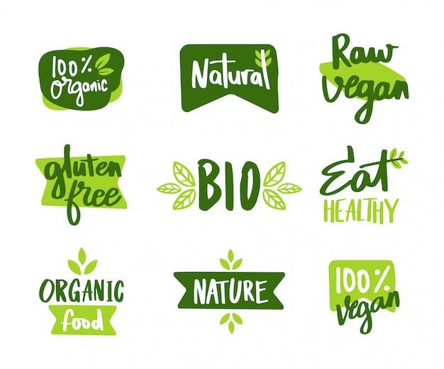 Das set von vegan und umweltzeichen
